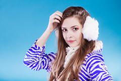 Stock Photo of Young woman in wintertime.