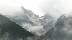 Cold and humid weather in rainy and misty mountains Stock Footage