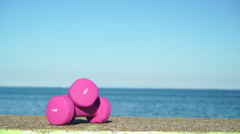 Light pink dumbbells sport symbol outdoor on sea shore 4K Stock Footage