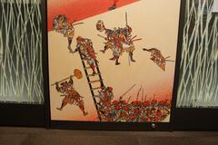 Traditional Japanese Samurai painting - stock photo