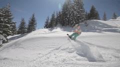 Snowboarder crush in powder snow Stock Footage