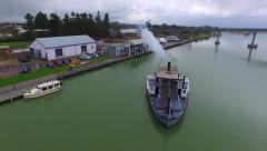 Oscar W steam driven paddle steamer boat River Murray Stock Footage