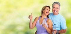 Healthy fitness elderly couple. Stock Photos