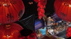 Lampions in Petaling street with shop,Kuala Lumpur,Malaysia - stock footage