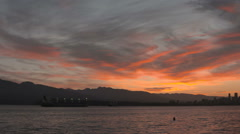 English Bay Sunrise Pan, Vancouver Stock Footage
