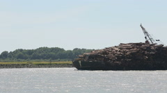 Stock Video Footage of Fraser River, Loaded Log Barge