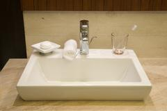 Luxury hotel bathroom Stock Photos