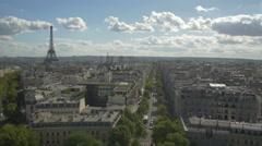 Paris arc of Triumph - top view - Eiffel Tower Stock Footage