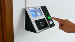 Finger scanning on the security scanner  Stock Footage