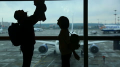Family vacation. Airport - stock footage