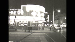 Stock Video Footage of Vintage 16mm film, 1960, Miami traffic downtown night #3