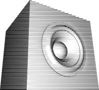 striped sound-system speaker illustration icon in black and white - stock illustration