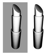 halftone trendy fashion graphical lipstick over white or gray - stock illustration