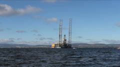 Oil rig in Cromarty Firth Scotland Stock Footage