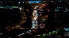 Golden State 5 Freeway in San Fernando Valley, Los Angeles Night Timelapse Stock Footage