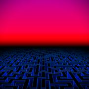 Retro gaming hipster neon landscape with labyrinth Stock Illustration