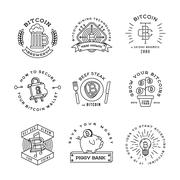 Bitcoin logo templates set. Cryptocurrency badge collection. Digital money icons Stock Illustration