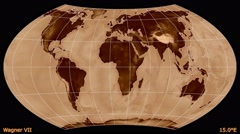 Animated world map in the Wagner VII projection. Luminance blending. Stock Footage