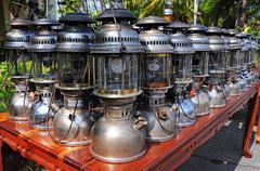 Antique Hurricane Lamps Stock Photos