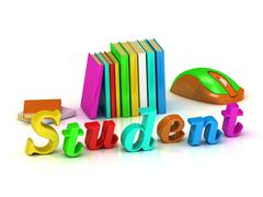 Stock Illustration of Student inscription bright volume letter and textbooks and computer mouse on