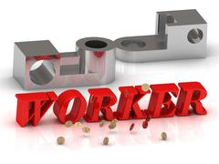 WORKER- inscription of red letters and silver details on white background - stock illustration