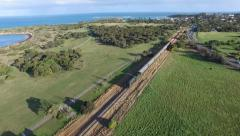 Historical railway vintage steam train aerial Port Elliott Stock Footage