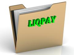 LIQPAY - bright color letters on a gold folder on a white background - stock illustration