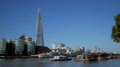 Static shot of The Shard, City Hall and HMS Belfast Stock Footage