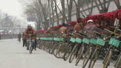 Pedicab drivers, rickshaws, Beijing snow - stock footage