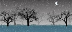 forest in the dark mist, snow, trees silhouettes - stock illustration