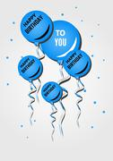 birthday wish card - stock illustration