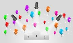 Stock Illustration of winning podium and lights with balloons