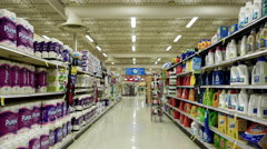 Cleaning products corridor in Save on Foods. Stock Footage