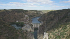 Dam in arribes del Duero canyon Stock Footage