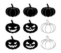 Halloween pumpkin silhouette set vector illustration, Jack O Lantern  isolate - stock illustration