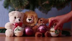 Soft toys under the Christmas tree Stock Footage