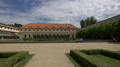 View of Wallenstein Riding School National Gallery and a beautiful lake, Prague Stock Footage