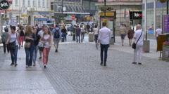 Walking in Jungmann Square, Prague Stock Footage