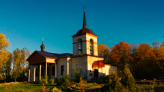 Orthodox Church in the village timelapse Stock Footage