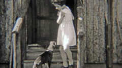 1938: Cast of characters exiting a vacation log cabin. Stock Footage