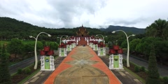 Flight towards Ho Kham Royal Pavilion Stock Footage