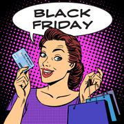Black Friday woman with business card discounts - stock illustration