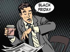 Black Friday businessman in cafe Stock Illustration