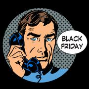Black Friday support by phone - stock illustration