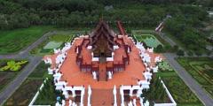 Circular pan around Ho Kham Royal Pavilion Stock Footage