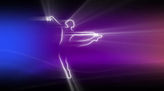 Stock Video Footage of ballet dancer, light rays, abstract shape, outline, jump, slow motion