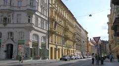 Walking on Myslíkova street, near Manes Hotel in Prague Stock Footage