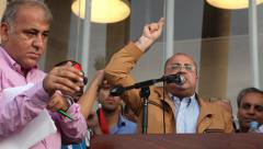Arab Speaker Member of Knesset MK Ahmad Tibi in anti Israel protest Stock Footage