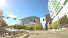 Camera car takes the road through the city of Denver. Stock Footage