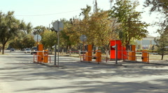 Automatic security barrier at the parking Stock Footage